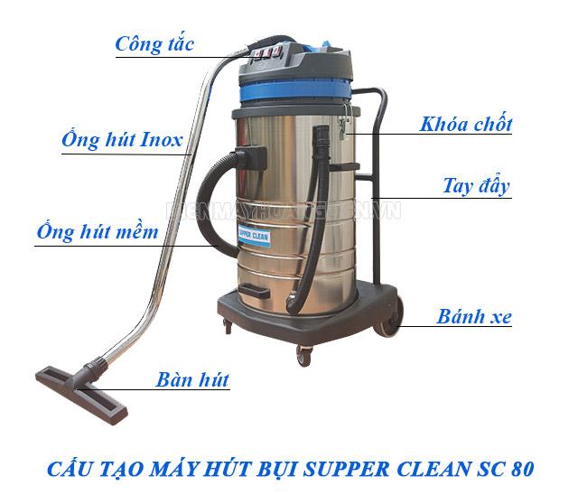 Hình ảnh cấu tạo của máy hút bụi nhà xưởng supper clean sc80