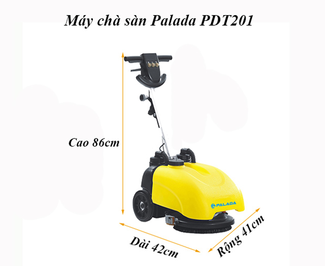 Kích thước máy chà sàn liên hợp mini PD T201