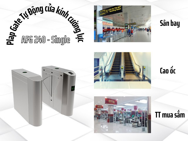 Cửa Plap Gate Tự Động cửa kính cường lực AFG 240 - Single